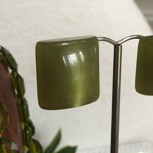 Vintage Jewelry - Vintage Avocado Green Necklace and Clip Earrings